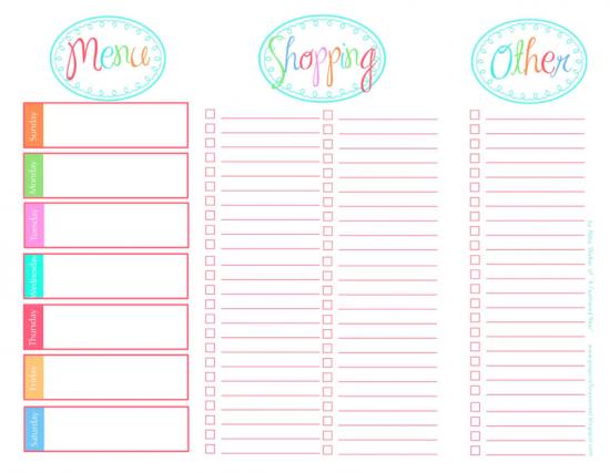 Free Printable Weekly Menu Planner with Grocery List