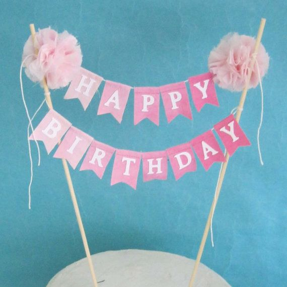 5 Images of Printable Birthday Banner Cake Topper