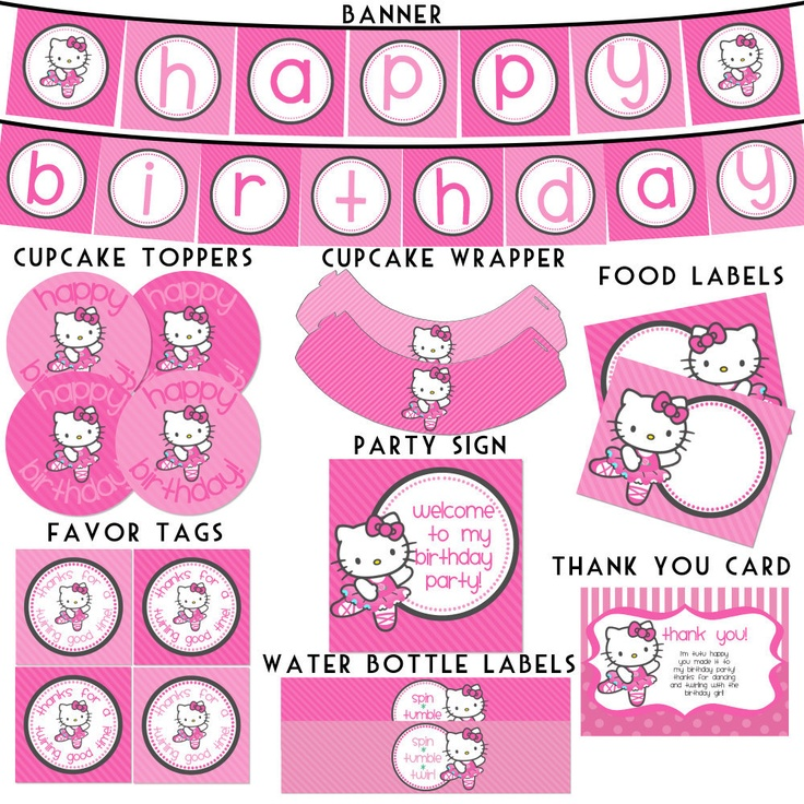 6 Images of Hello Kitty Birthday Printables