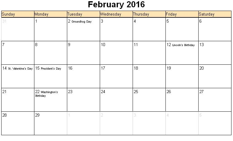 Holiday February 2016 Calendar Printable