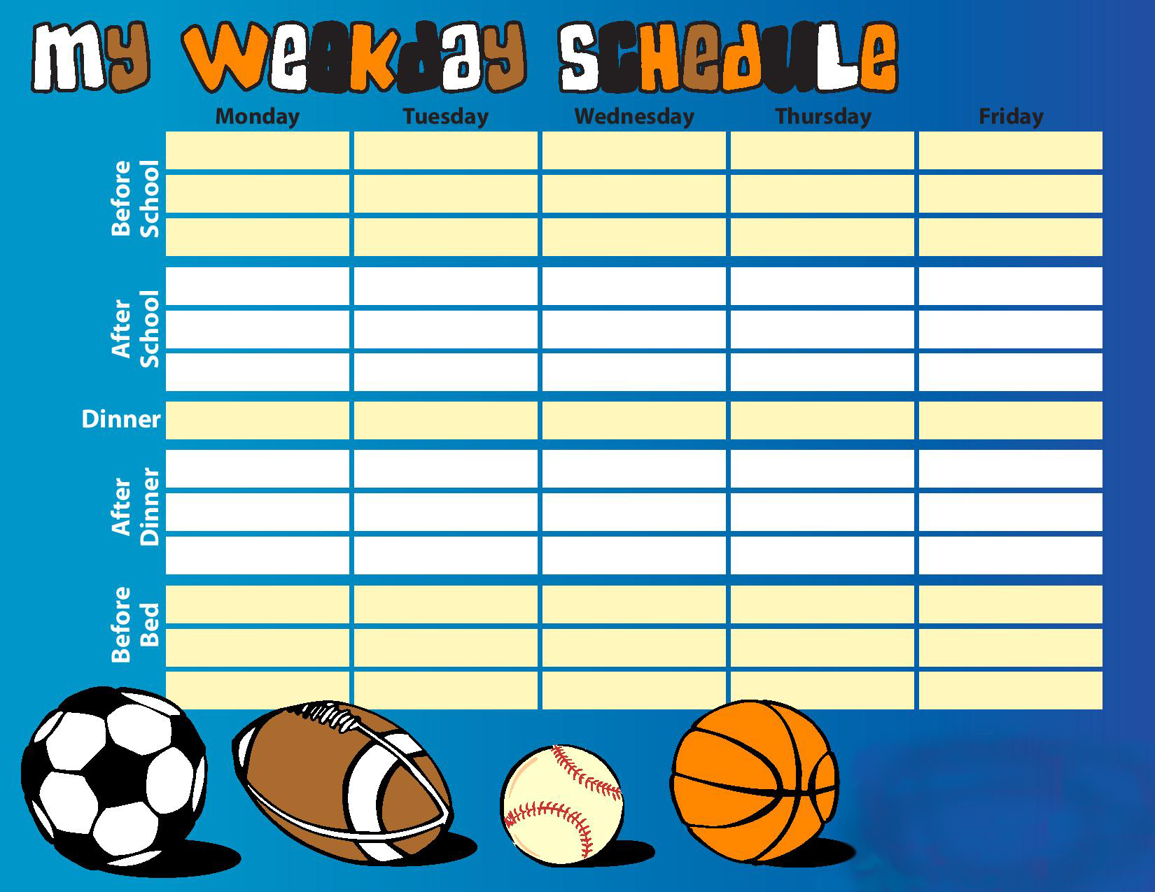 Kids Schedule Chart Printables