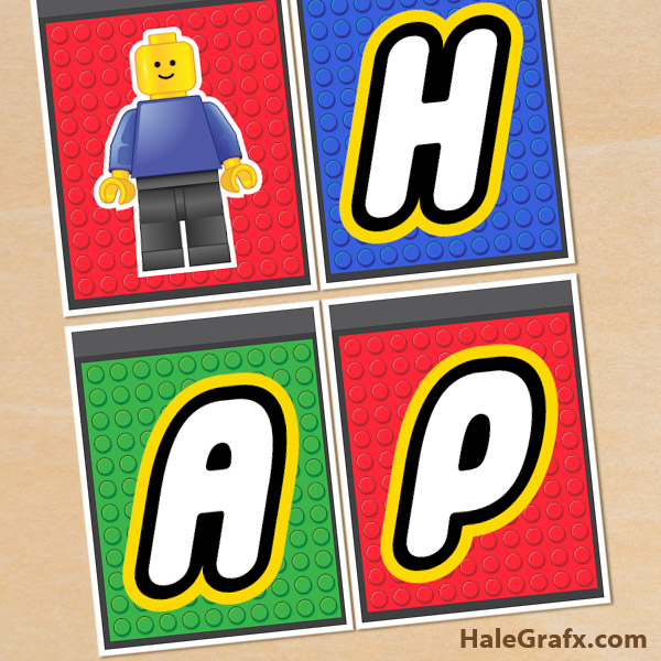 7 Images of Free Printable Happy Birthday LEGO Banner