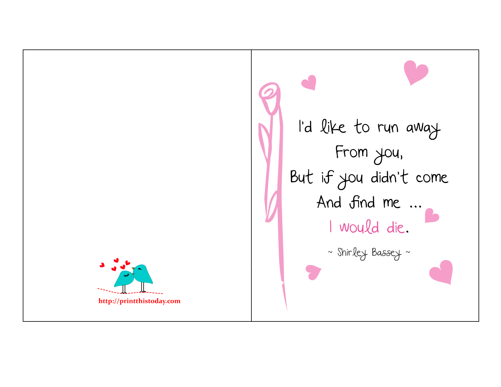 Love Quote Printable Cards