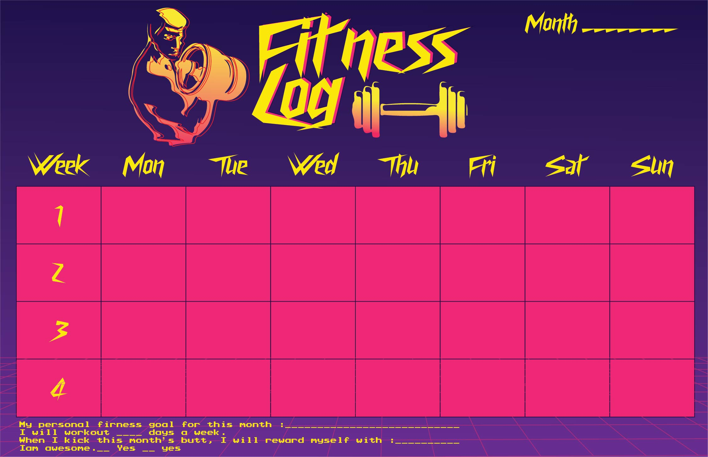 Monthly Fitness Log Printable