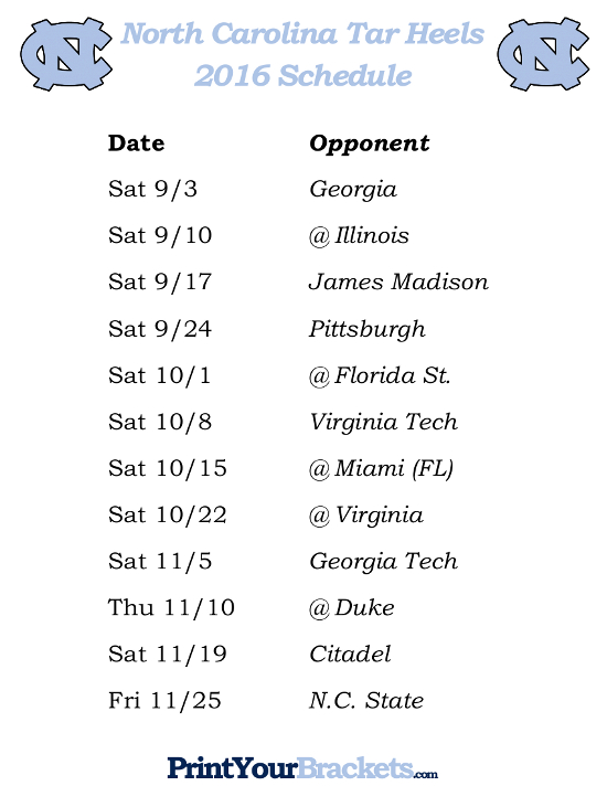 4 Best Images of Printable Bowl Schedule With Records ...North Carolina Football Schedule
