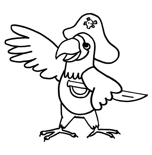 5 Images of Printable Parrot Coloring Pages Pirates
