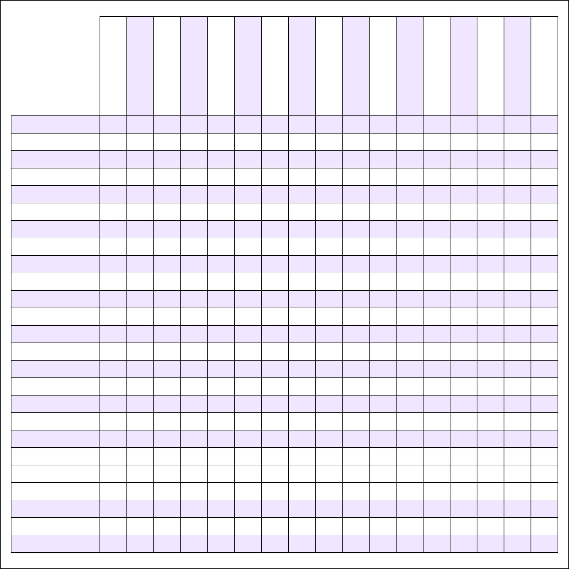 Printable Blank Charts with Rows