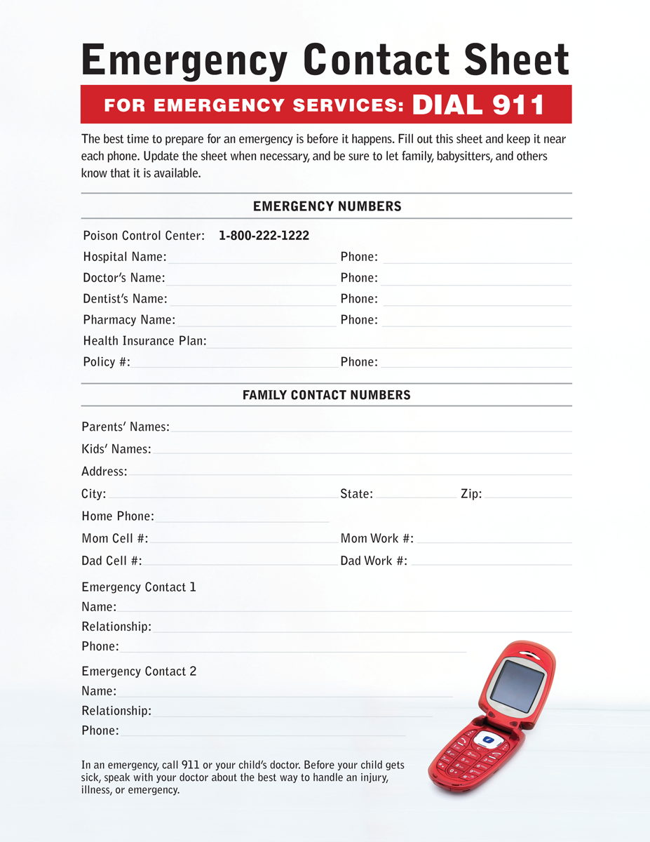 7 Images of Printable Emergency Contact Information Sheet