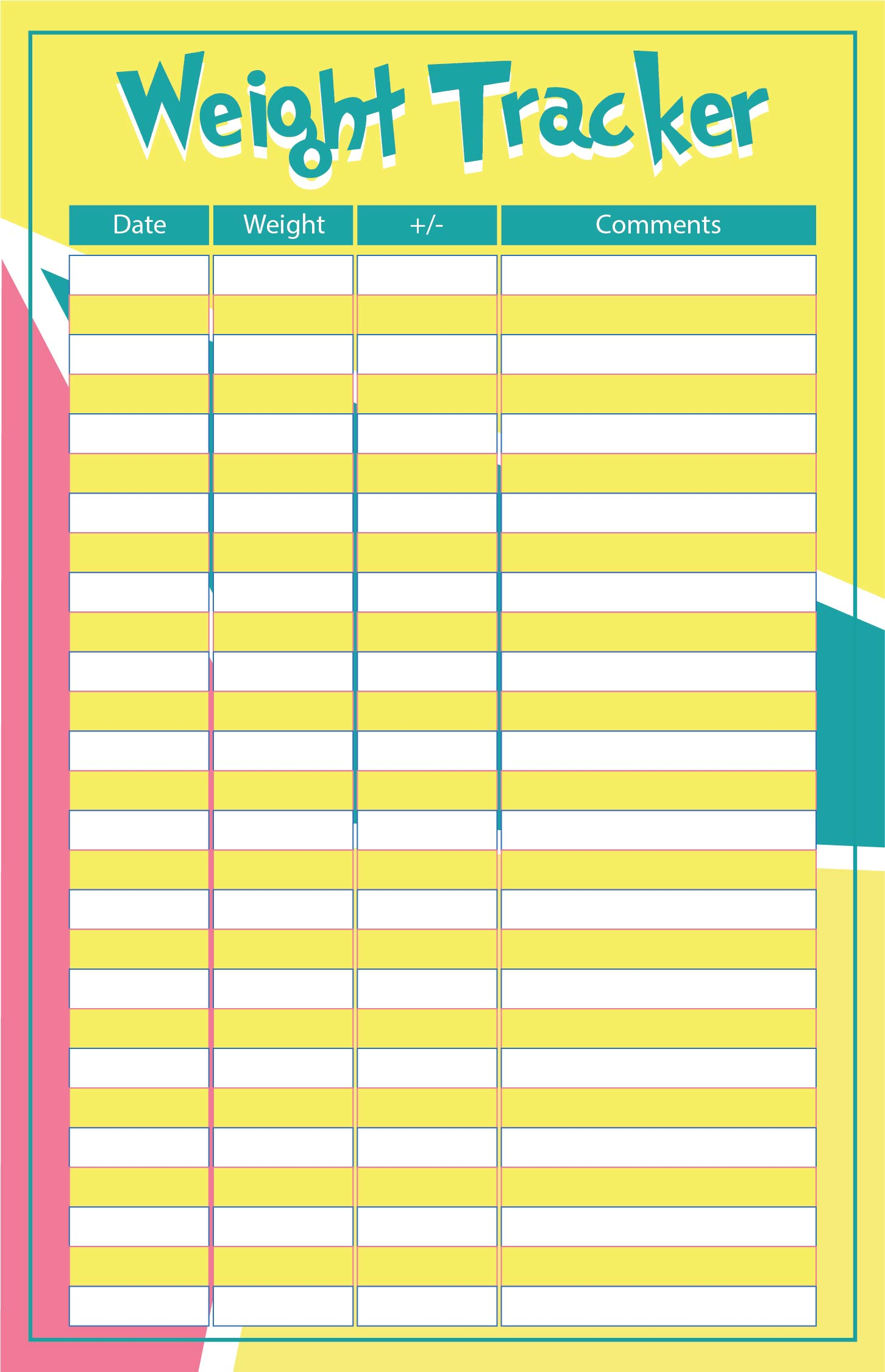 Printable Food Journal Template Weight Loss