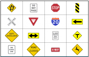 6 Images of Street Sign Bingo Printable Cards