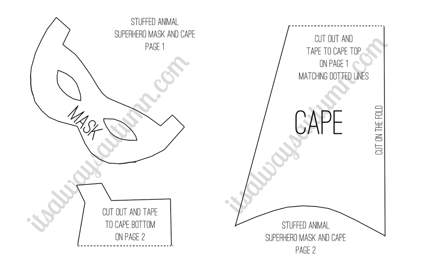 5 Images of Printable Superhero Cape Template