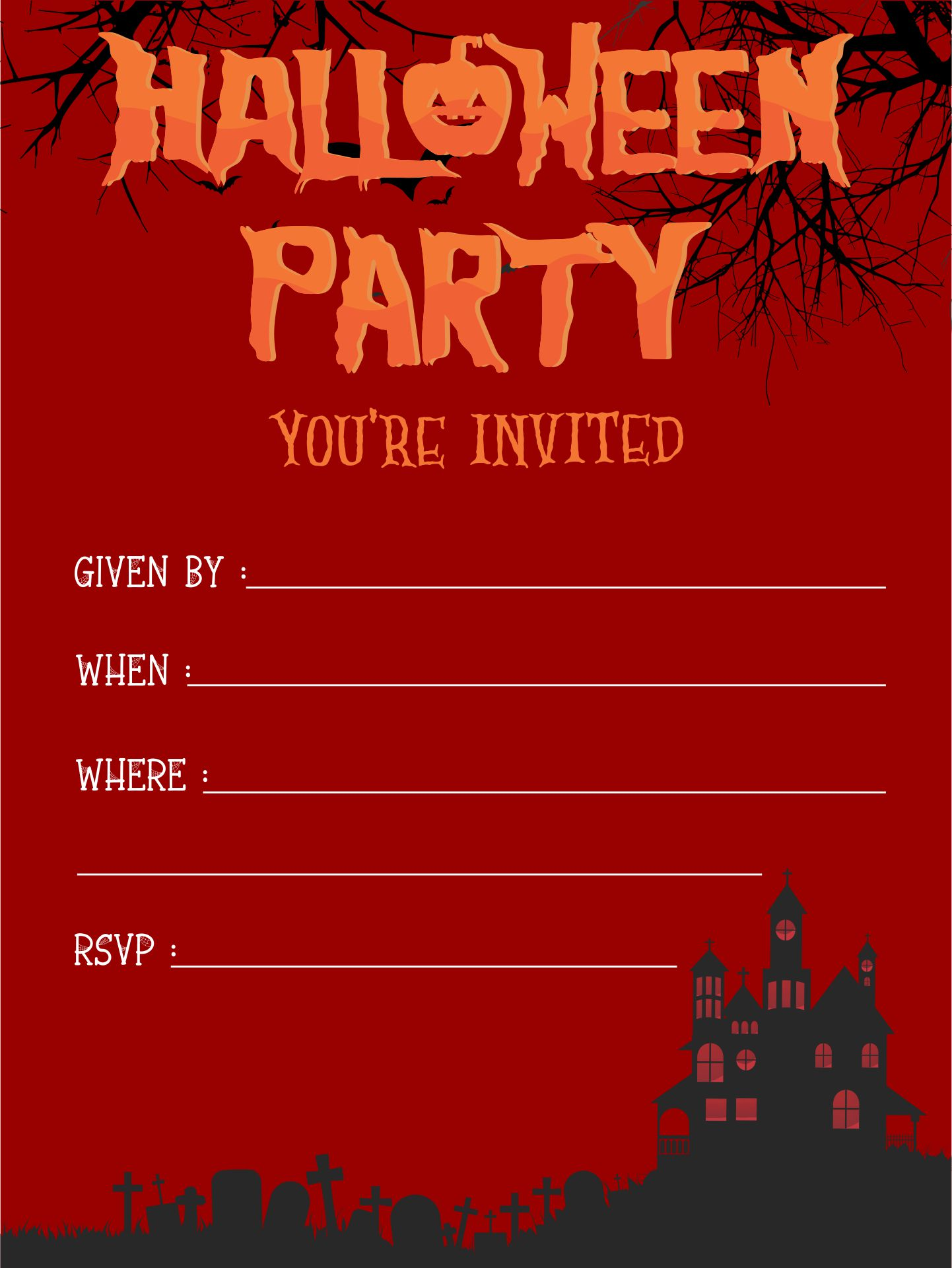 8 Images of Scary Printable Halloween Invitations