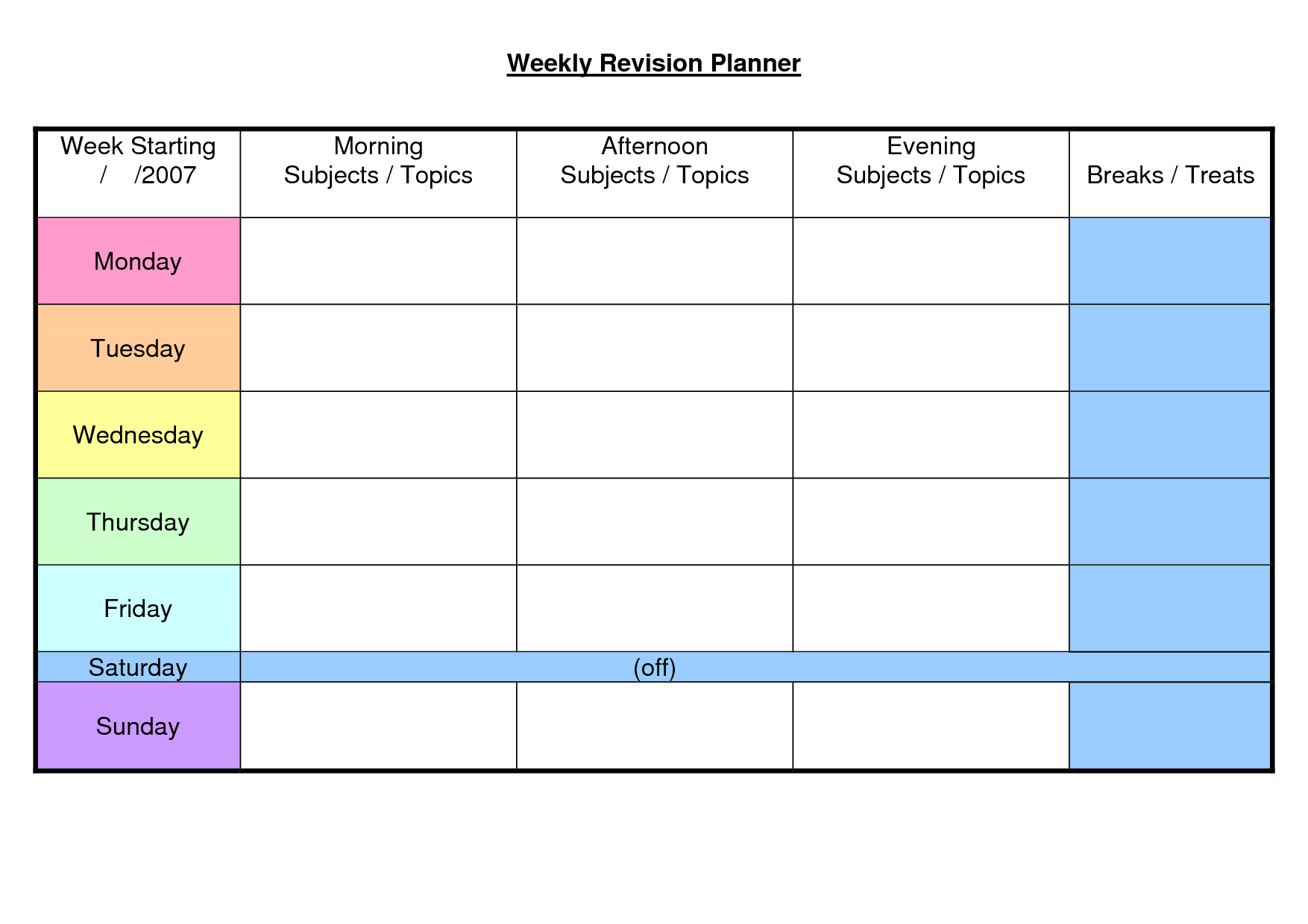 ... Images Of Printable Weekly Student Planner Template - 1754x1240 - png