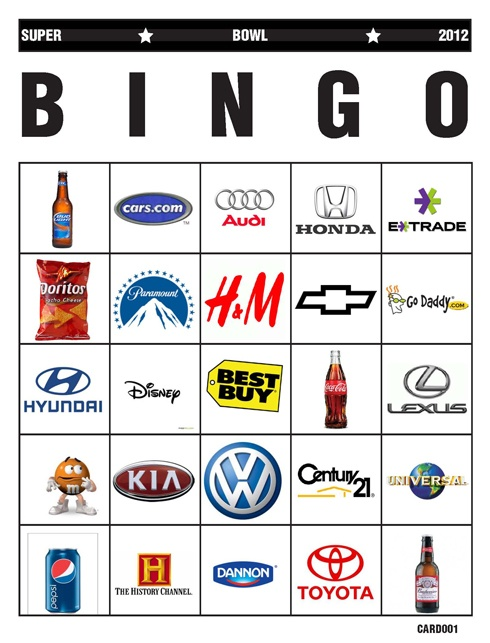 5 Images of Printable Super Bowl Commercial Bingo