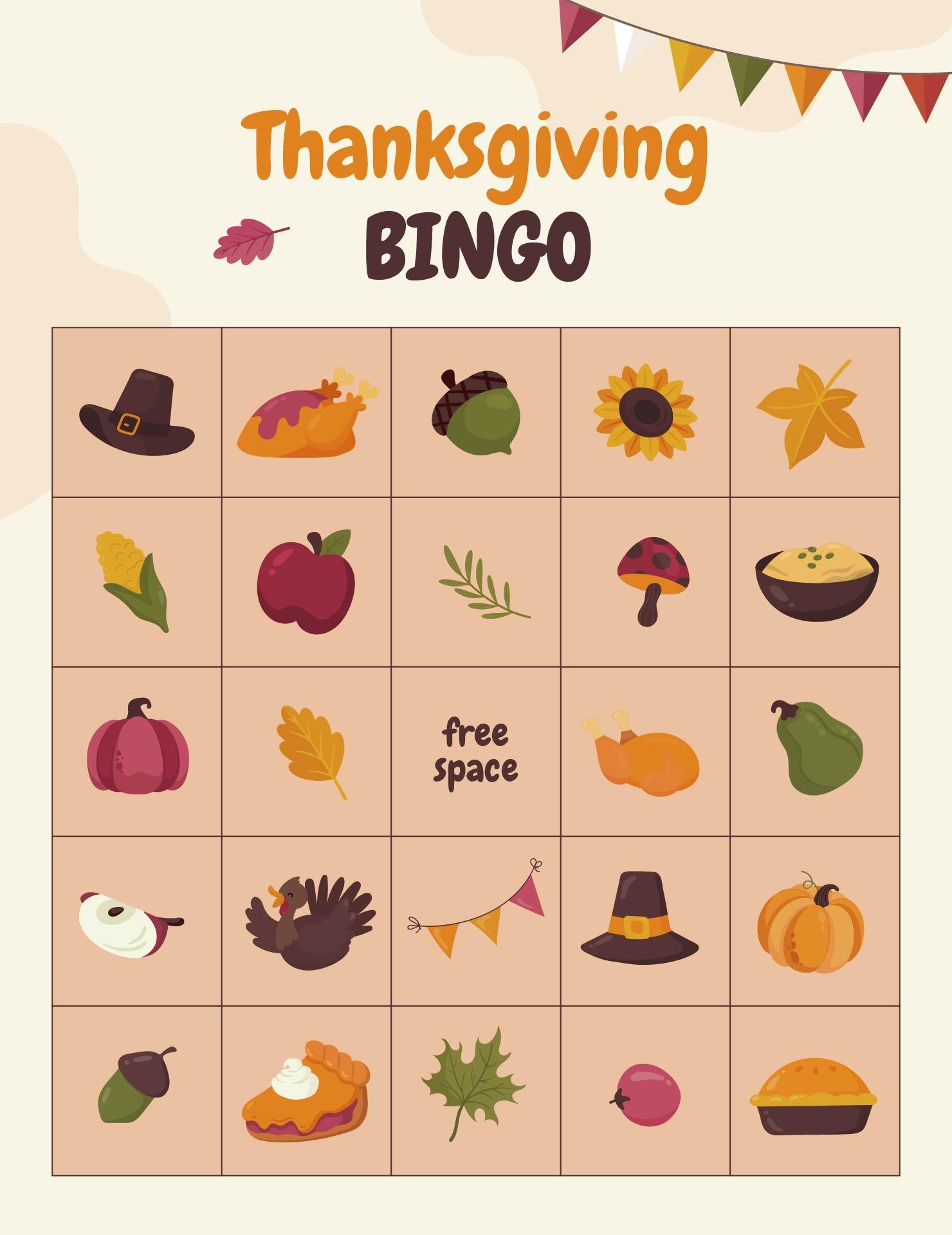 7 Images of Free Printable Thanksgiving Bingo Sheets