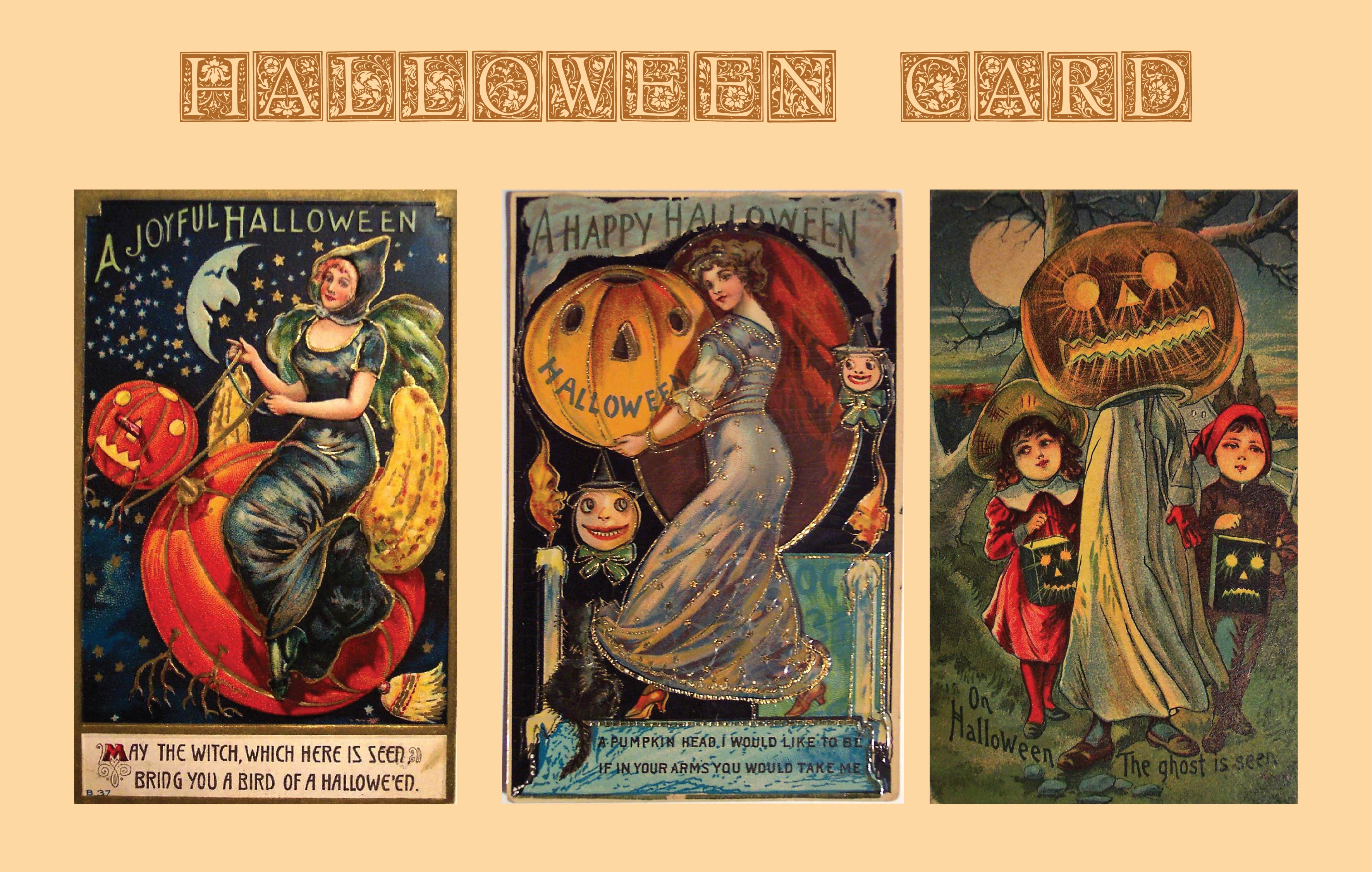 6 Images of Free Printable Vintage Halloween Cards