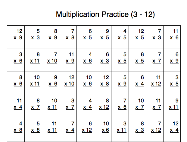 Number Names Worksheets printable multiplication timed test – Multiplication Test Worksheets