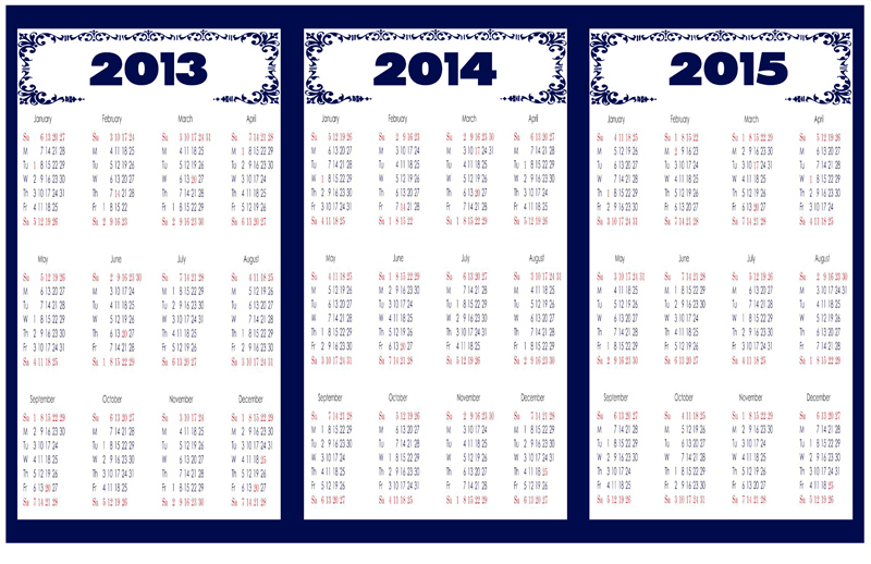 5 Best Images of Calendar 2013 2014 2015 Printable One