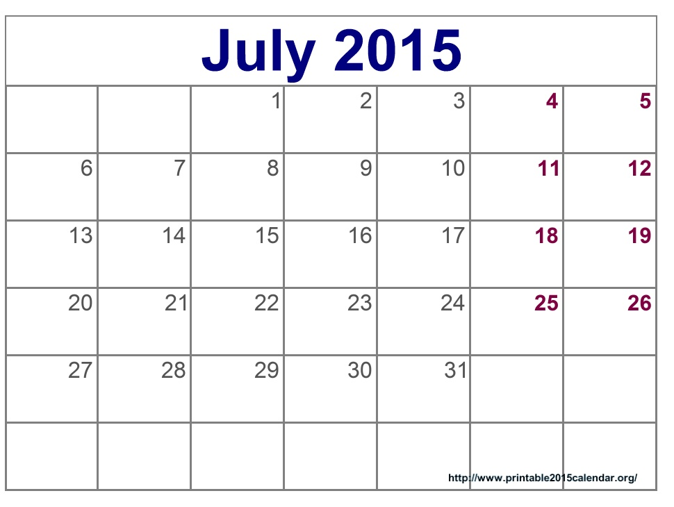 8 Images of July Calendar Printable