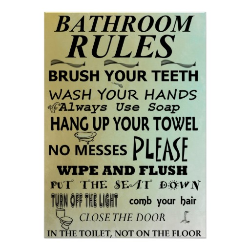 6 Images of Bathroom Rules Subway Art Printables