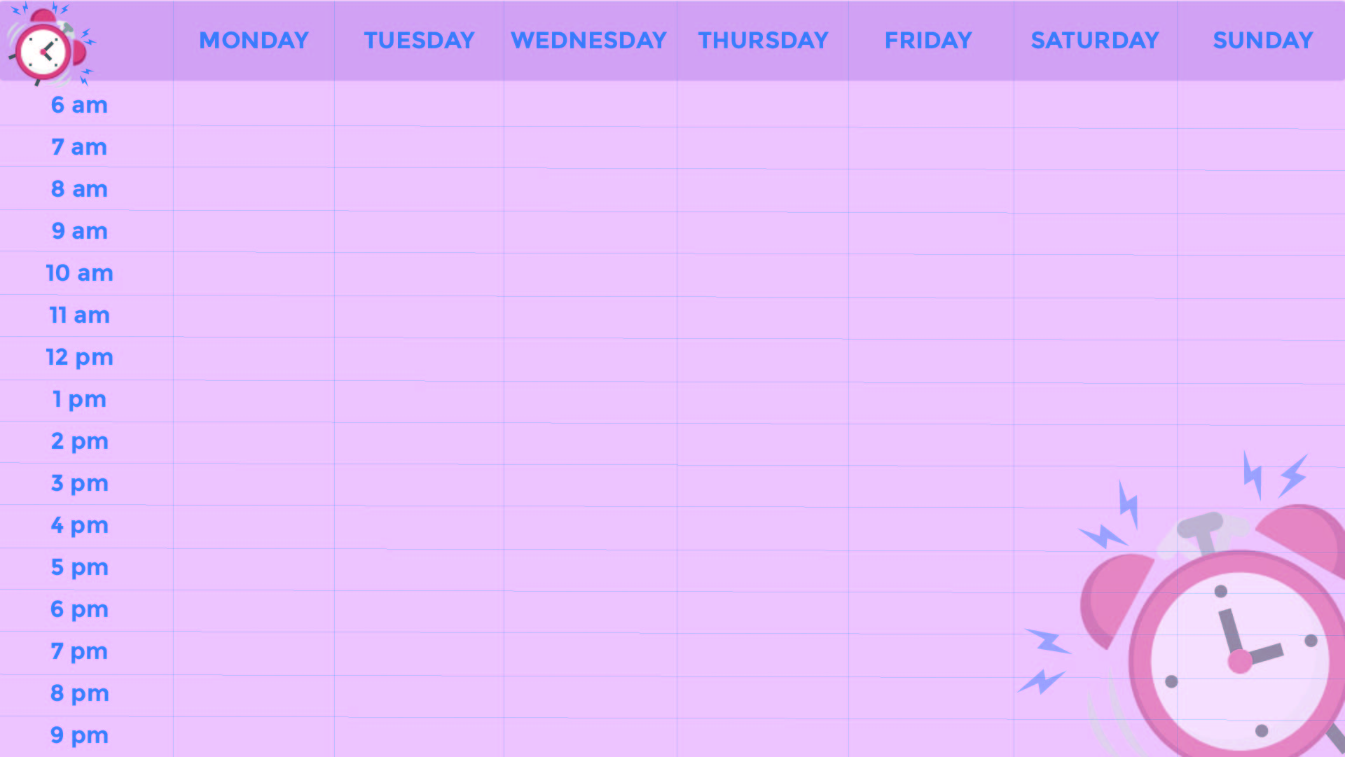Blank Weekly Calendar with Time Slots