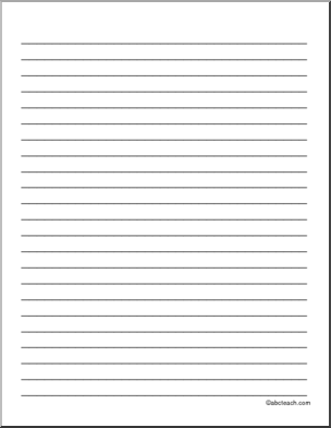 Blank lined writing paper
