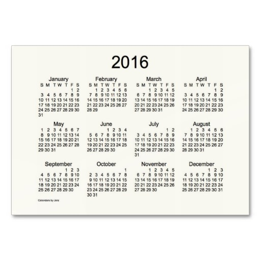 7 Images of 2016 Pocket Calendar Free Printable