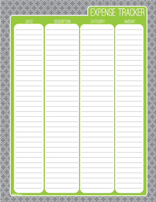 kendall money tracking sheet pdf