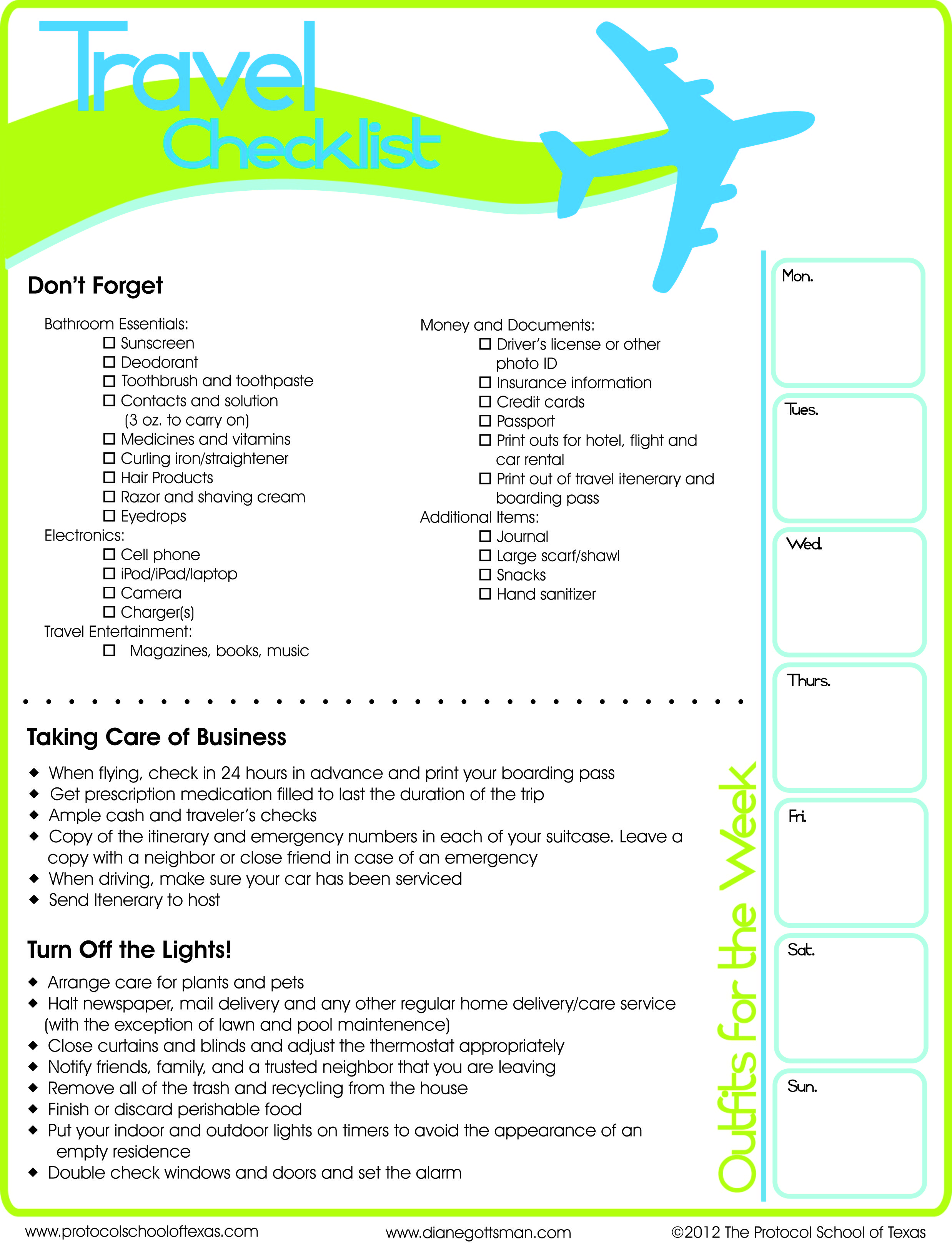 5 Images of International Travel Checklist Printable