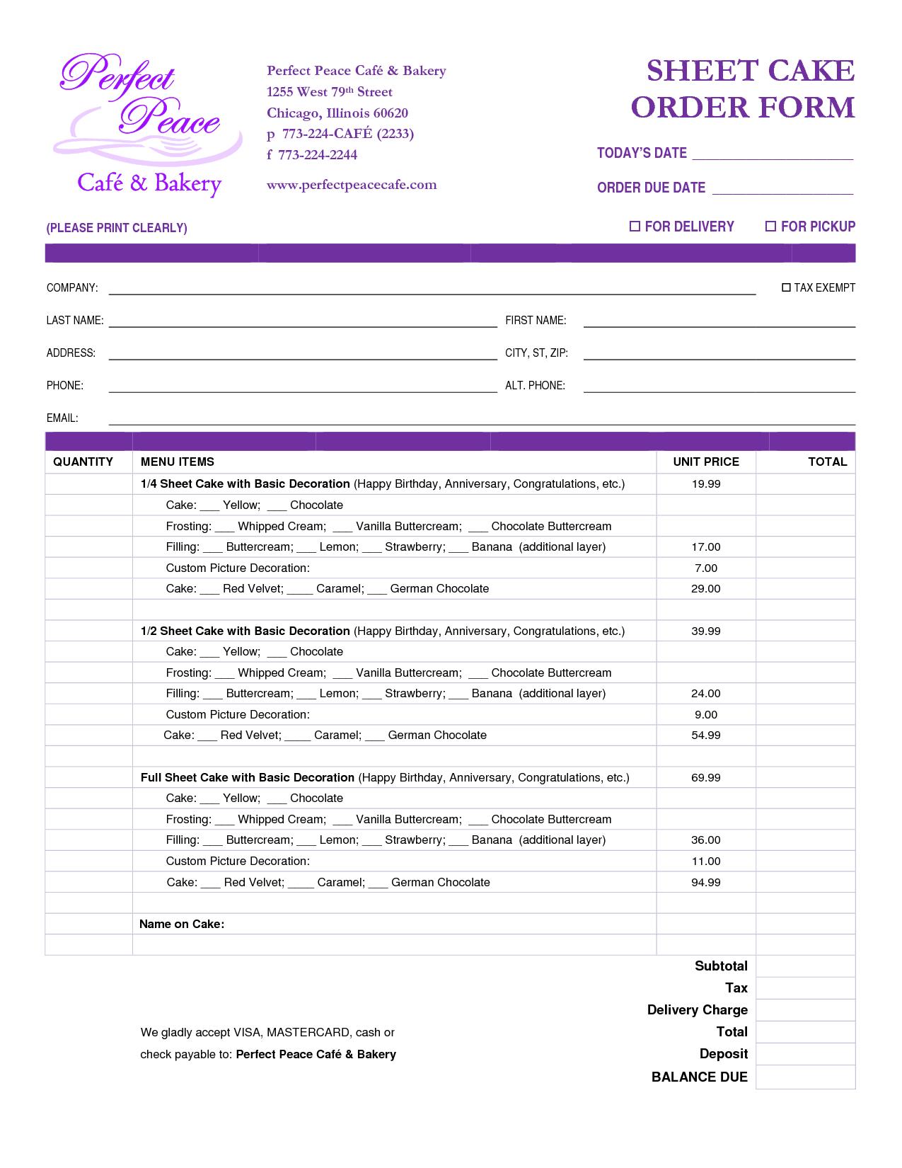 free printable order form
