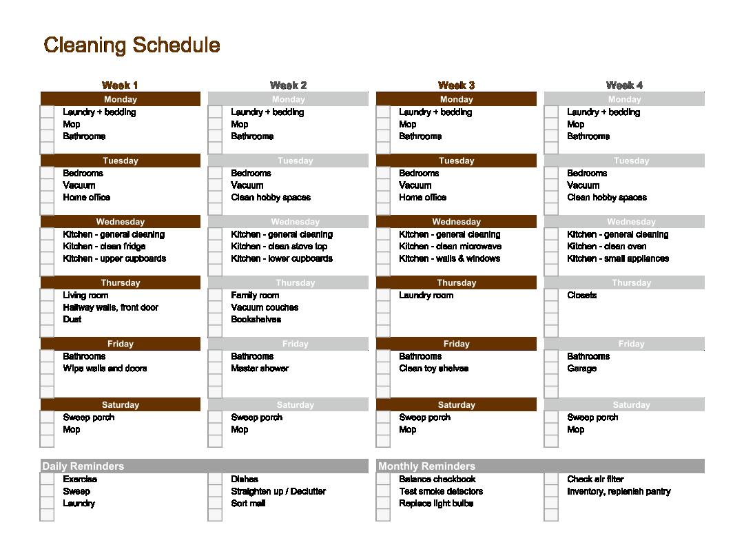 Checklist Cleaning Schedule Template