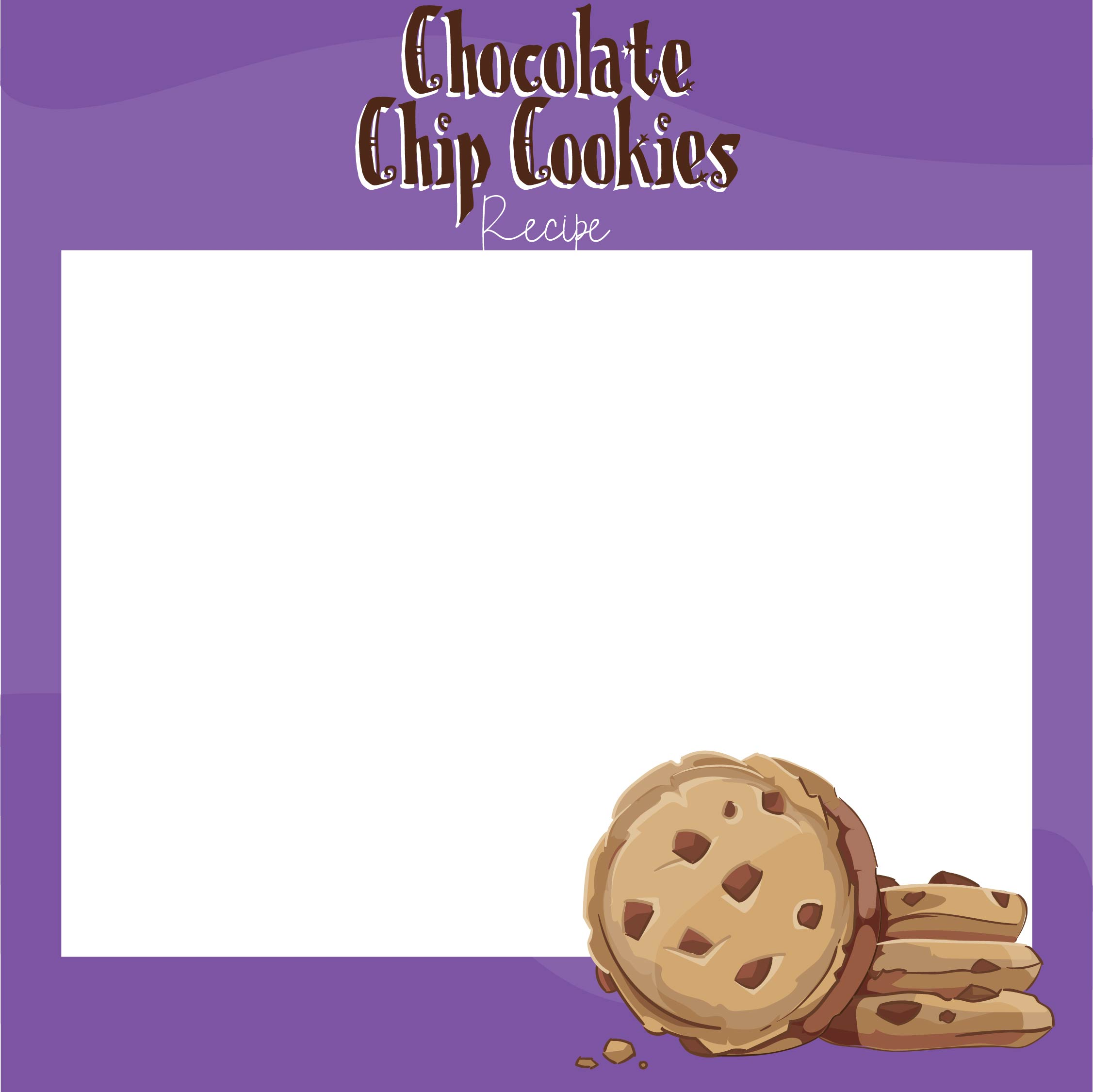 Chocolate Chip Cookies Recipes Cards Printable for Kids
