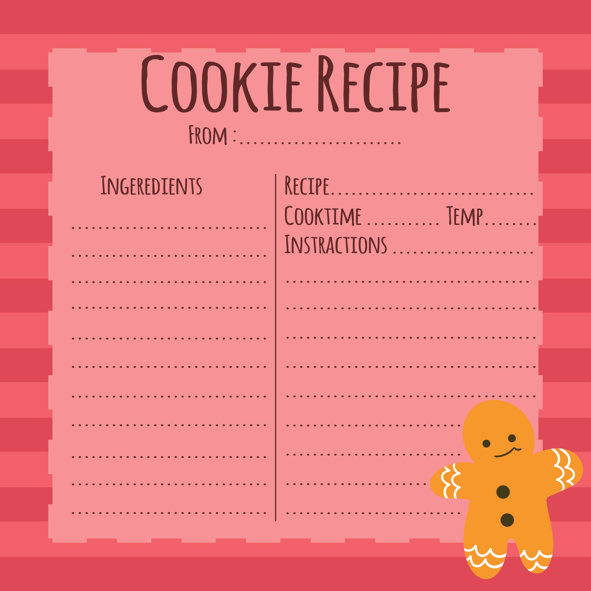 Christmas Cookie Exchange Recipe Cards