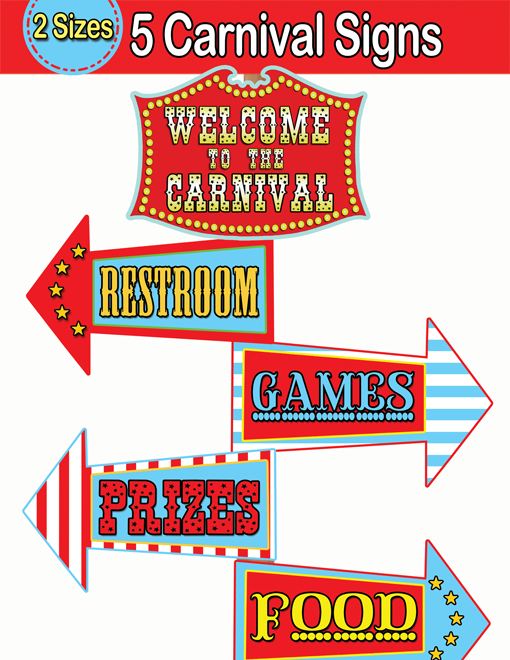 6 Images of Carnival Party Printable Signs