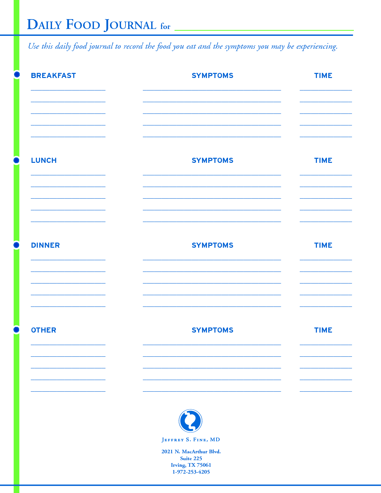 Daily Food Journal Template