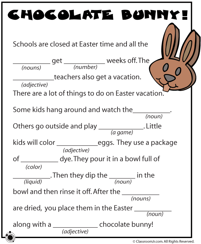5 Images of Easy Easter Mad Libs Printable