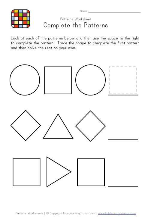 Worksheets Free Picture Pattern Worksheets pattern worksheets for first grade free shape for