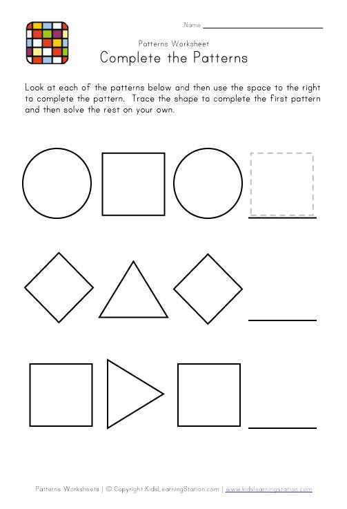 Pattern Worksheets : shape pattern worksheets for 4th grade Shape ...