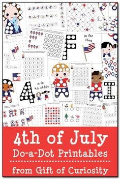 6 Images of 4th July Dot Marker Pages Printable