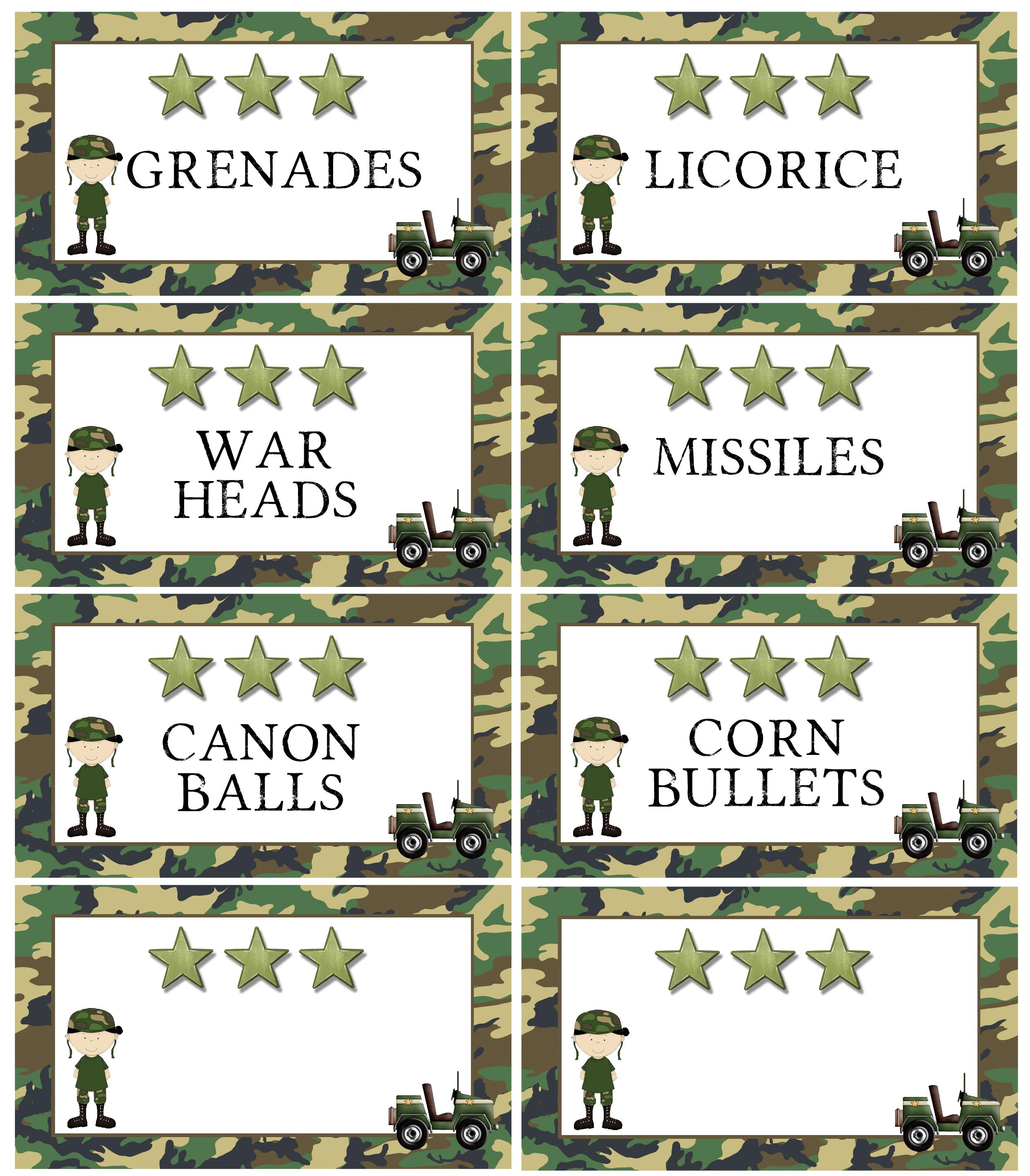 Army Printable Food Labels