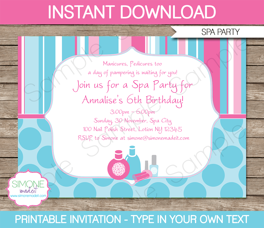 7 Images of Spa Party Invitations Printable And Editable