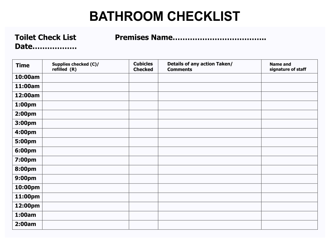 6 Best Images of Bathroom Schedule Printable - Free ...
