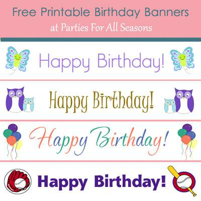 9 Images of Free Printable Color Birthday Banner