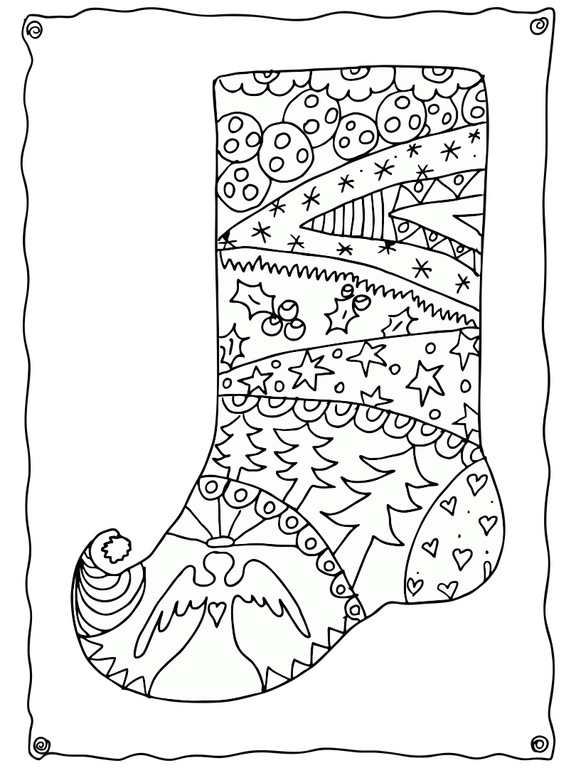 4 Images of Christmas Adult Printable Coloring Pages