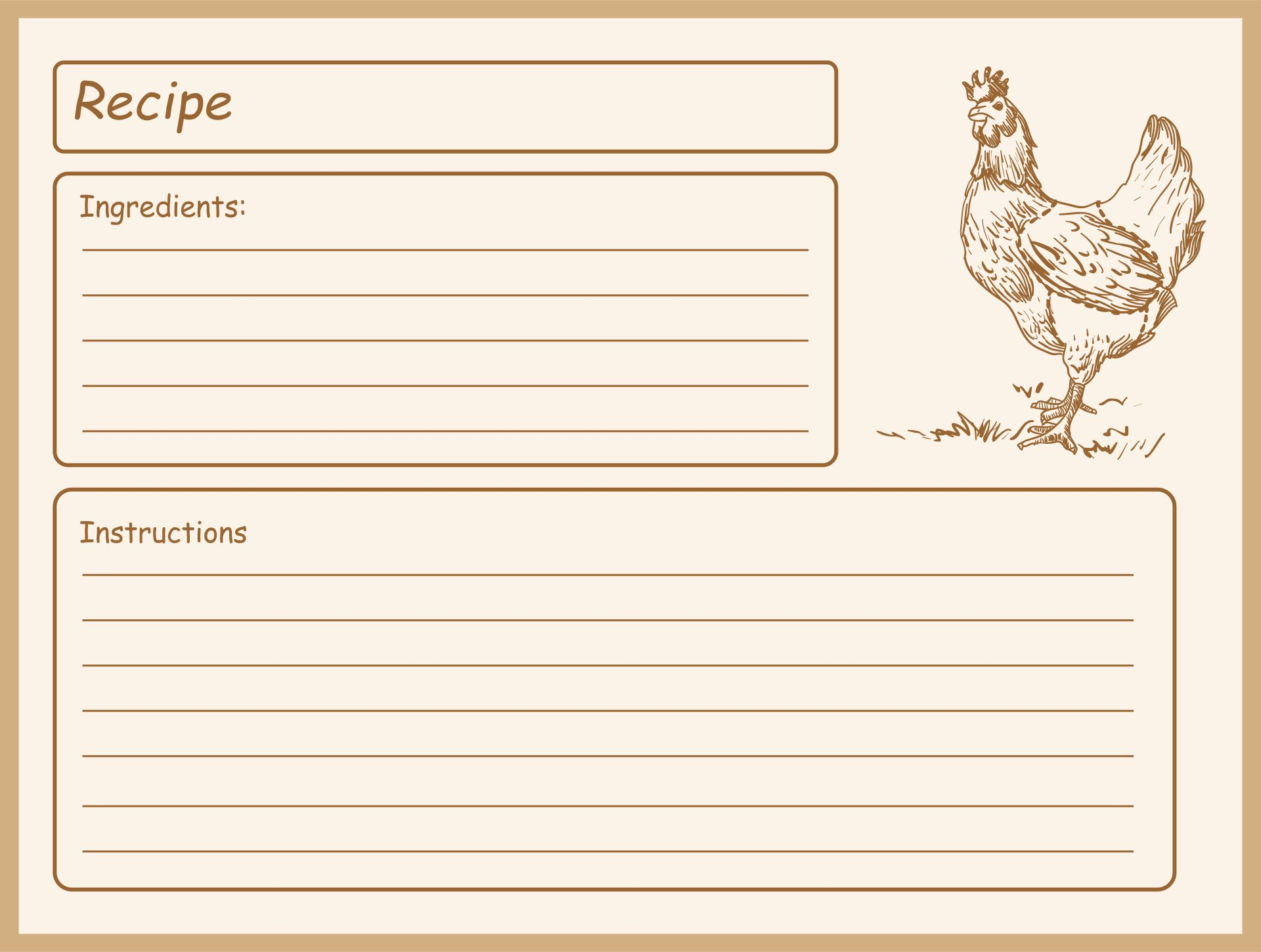 Printable Country Recipe Cards