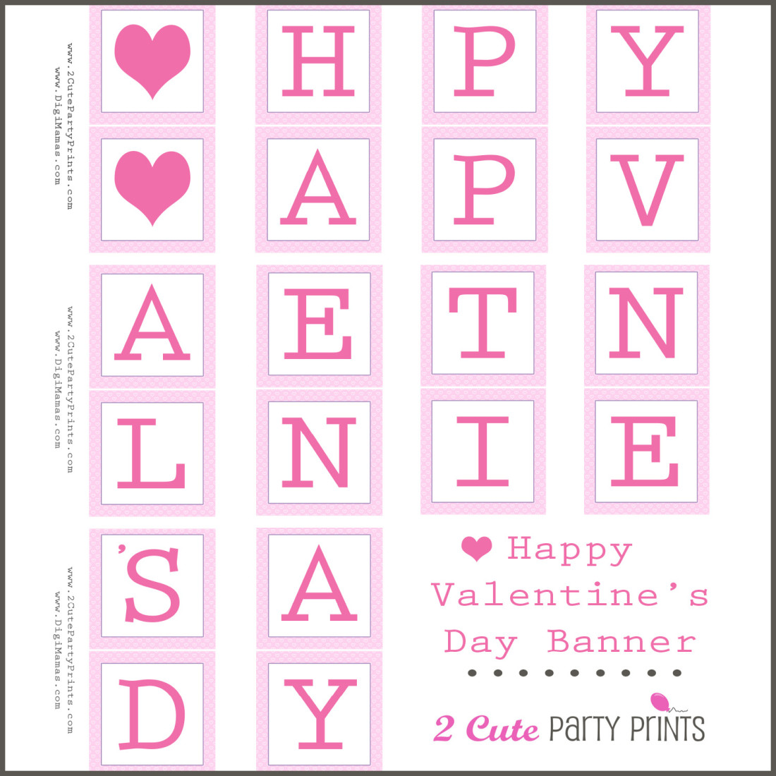 8 Best Images of Printable Valentine's Day Banners - Free ... Happy Valentines Day Banner Printable