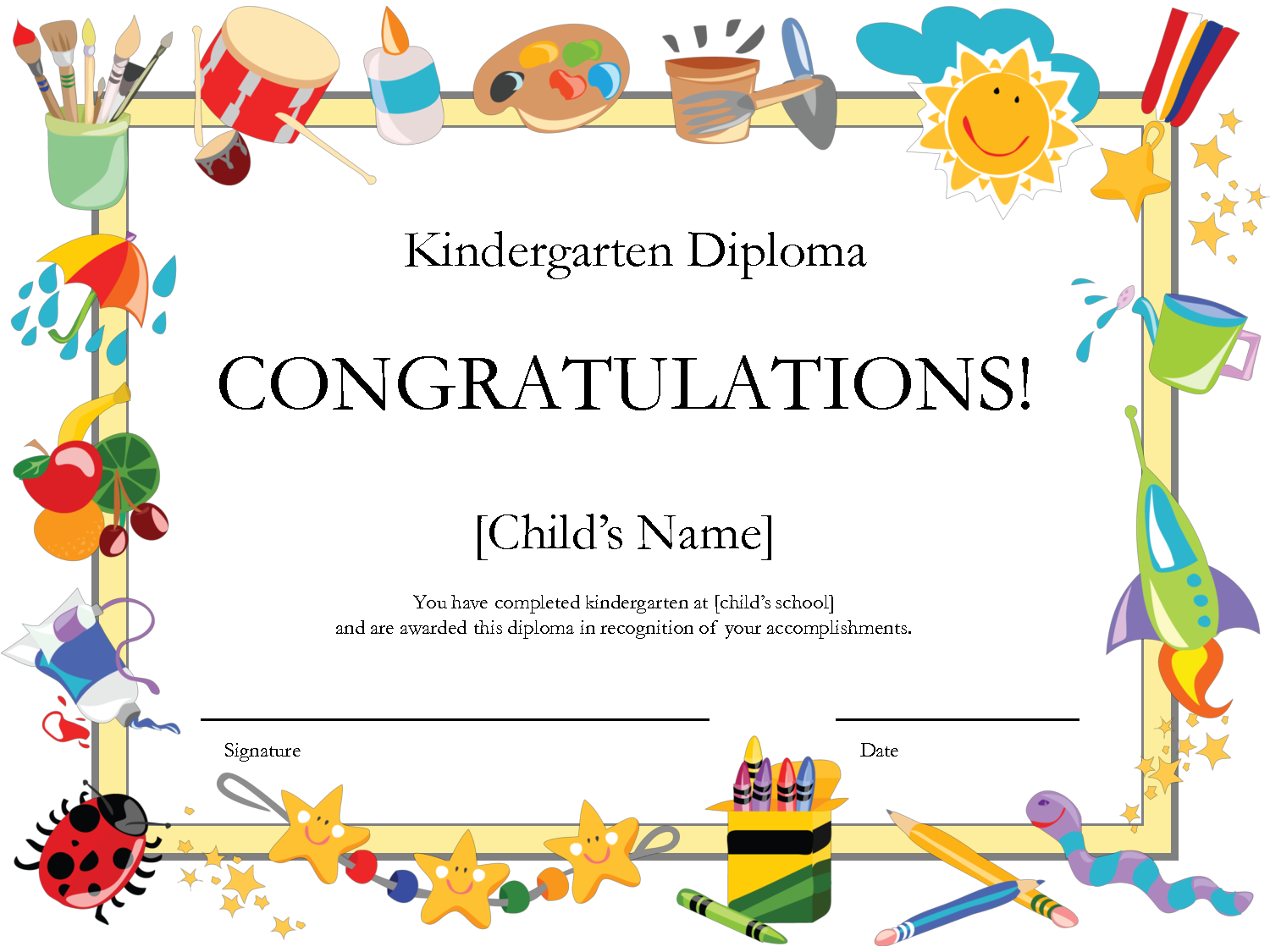 6 best images of free printable preschool diplomas for Diplomas and certificates templates