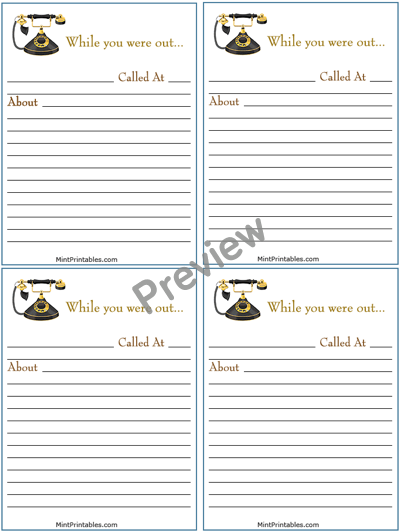 7 Images of Phone Message Notes Printable