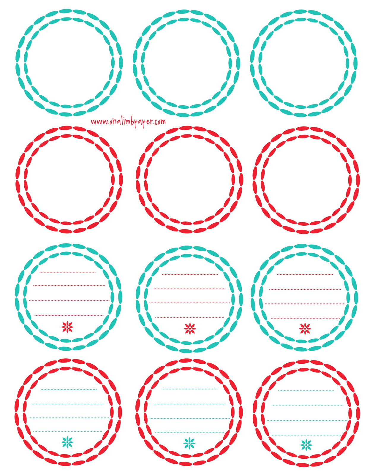 6 Images of Printable Circle Gift Tags