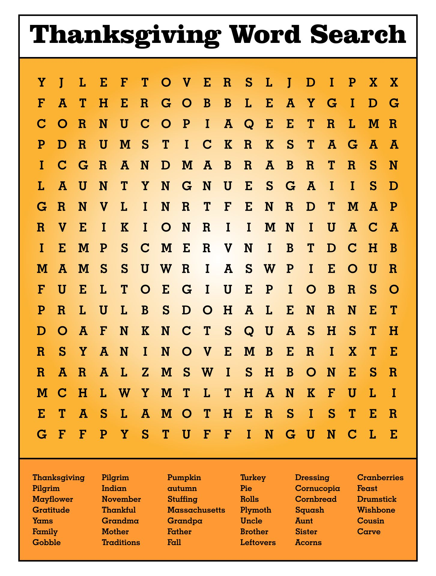 Free Printable Thanksgiving Word Search Puzzles
